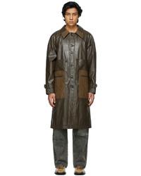 Dark Brown Leather Overcoat