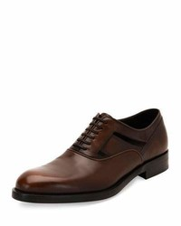 Salvatore Ferragamo Fort Burnished Calfskin Lace Up Oxford With Side Cutouts Brown