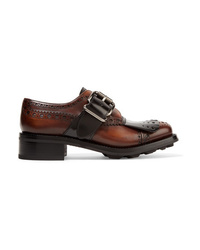 Prada Fringed Burnished Leather Brogues
