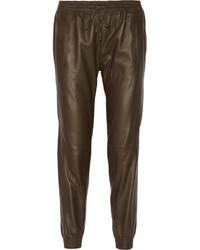 Leather tapered pants medium 137454