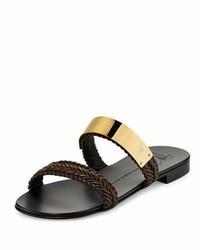 Braided leather slide sandal wgolden bar brown medium 925516