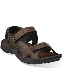 Clarks Swing Part Brown Leather Sandals