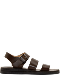 A.P.C. Dark Brown Leather Adam Sandals