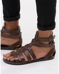 Asos Gladiator Sandals In Leather