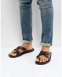 Pier One Leather Sandals In Brown