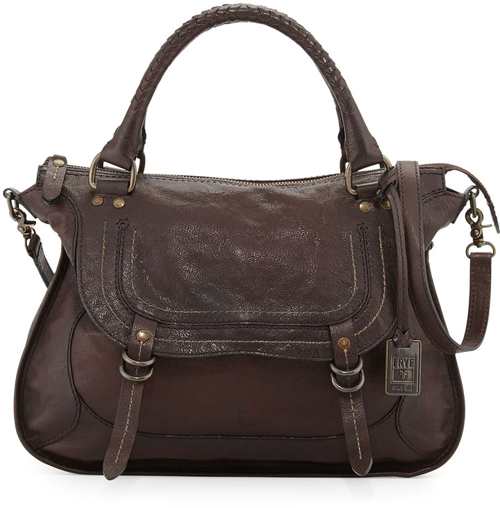 Frye Anna Hammered Leather Satchel Bag Dark Brown | Where to buy ...