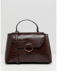 ASOS DESIGN Croc City Bag With Ring Ball Detail
