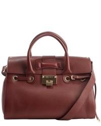 Jimmy Choo Dark Red Leather Rosalie Convertible Top Handle Satchel