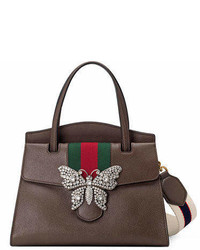 Gucci Linea Totem Medium Leather Top Handle Bag With Butterfly Web Strap