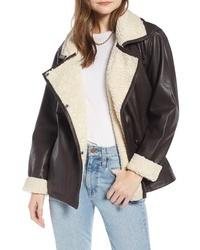 Something Navy Aviator Leather Jacket