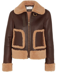 Chloé Shearling And Leather Jacket Brown