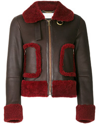 Shearling trim leather jacket medium 5052995