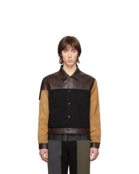 GR-Uniforma Black And Brown Faux Leather Denim Jacket