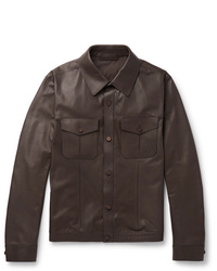 Ermenegildo Zegna Slim Fit Leather Overshirt