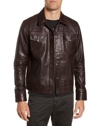 John Varvatos Star USA Tristan Leather Trucker Jacket