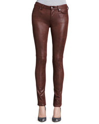 7 For All Mankind Leather Like Skinny Jeans Wine