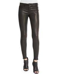 J Brand Leather Super Skinny Pants Noir