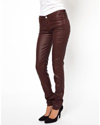 Wrangler Corynn Mid Rise Coated Leather Look Skinny Jeans
