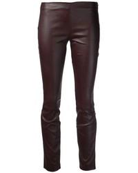 Dark Brown Leather Skinny Pants