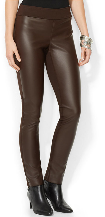 acd9b6135206df ... Dark Brown Leather Skinny Pants Lauren Ralph Lauren Faux Leather Pull  On Pants ...