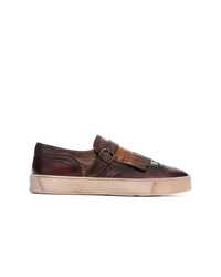 Santoni Brogue Style Slip On Sneakers