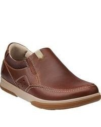Clarks Wavecamp Easy Brown Leather Sneakers