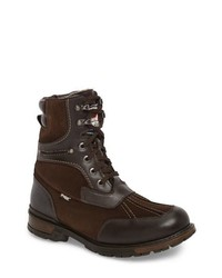 Dark Brown Leather Snow Boots