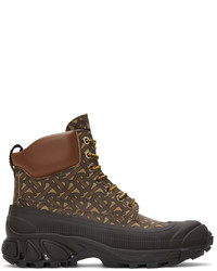 Burberry Leather Contrast Sole Monogram Print Lace Up Boots