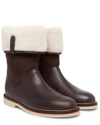 Loro Piana Snow Walk Shearling Lined Leather And Suede Boots