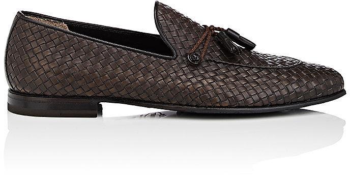 086bb30ebdc6cd ... Dark Brown Leather Tassel Loafers Barrett Tassel Detailed Woven Leather  Loafers ...