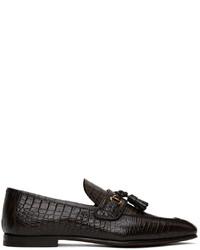 Tom Ford Brown Alligator Tassel Loafers
