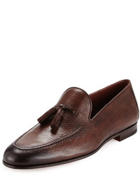 For neiman marcus pebbled leather tassel loafer brown medium 641172