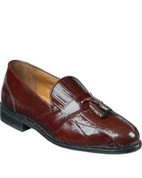 Stacy Adams Alberto 23059 Cognac Snakecroco Printlizard Print Leather Tassel Loafers