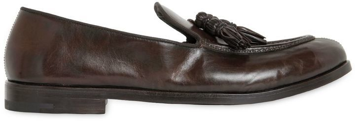 Tasseled Hand-brushed Leather Loafers ymB5x