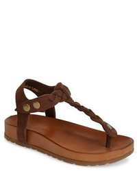 Dark Brown Leather Thong Sandals