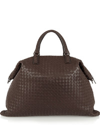 Bottega Veneta Convertible Intrecciato Leather Tote Chocolate