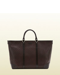 Gucci Medium Brown Diamante Leather Top Handle Tote