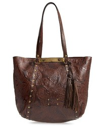 Patricia Nash Tooled Lace Benvenuto Leather Tote Brown