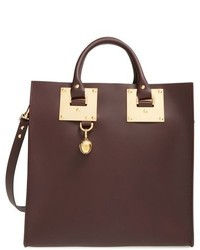 Sophie Hulme Large Leather Square Tote Burgundy