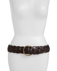 Tarnish Braided Leather Belt Dark Brown Medium