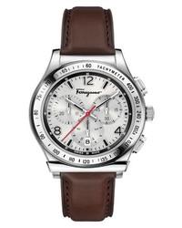 Salvatore Ferragamo 1898 Chronograph Leather Strap Watch