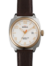 40mm brakeman watch with leather strap browngold medium 154103