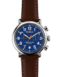 Shinola 41mm Runwell Chrono Watch Dark Brownblue
