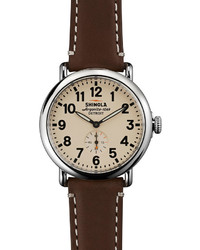 Shinola 41mm Runwell Watch Dark Browncream