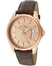 Lucien Piccard 98660 Rg 09 Dark Brown Genuine Leatherrose Textured Analog Watches