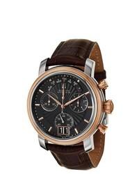 Accutron Bulova Amerigo Stainless Steel Brown Leather Chronograph Retrograde Watch