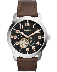Fossil Automatic Chronograph Pilot 54 Dark Brown Leather Strap Watch 44mm Me3118