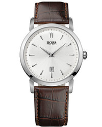 BOSS HUGO BOSS Round Leather Strap Watch 40mm Silver Brown