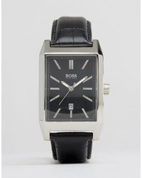 Hugo Boss Boss Square Face Leather Watch In Black