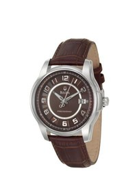 Bulova Precisionist Stainless Steel Brown Leather Watch
